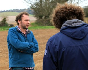 Ben showing us his fields of asparagus, or, where the asparagus will be in a couple of weeks time.